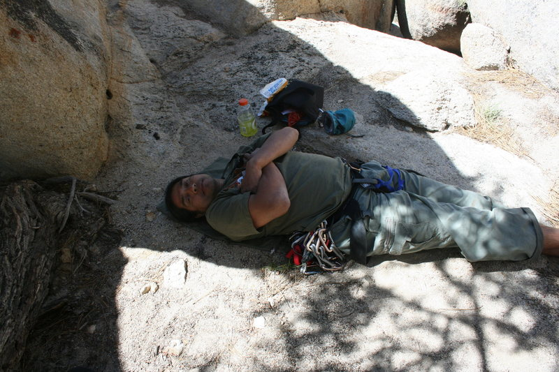 Al napping before attempting Gravity Kills 5.10a<br> 1 of 2