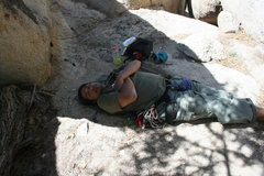 Rock Climbing Photo: Al napping before attempting Gravity Kills 5.10a 1...