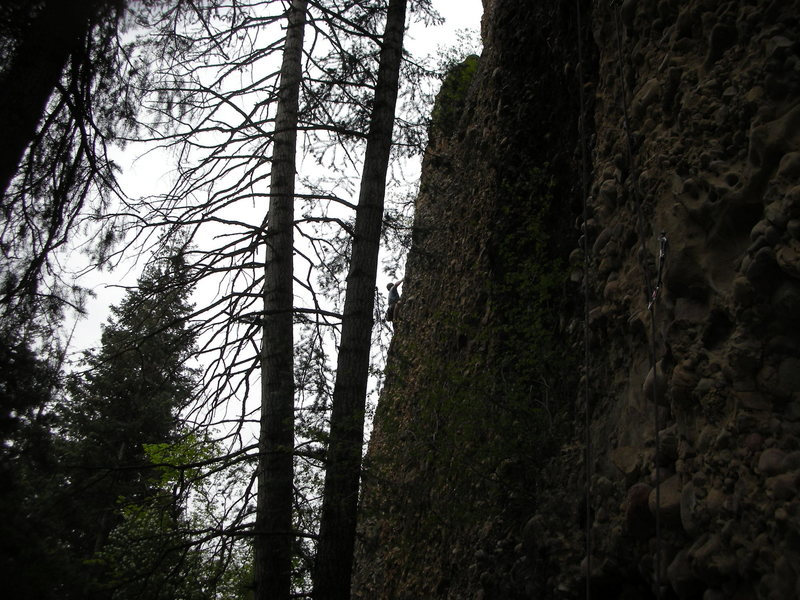 Jon Colbert onsights 3rd route from right on Oxygen Wall