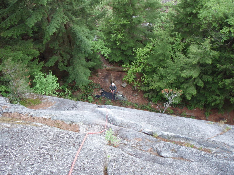 Looking down the first pitch from Mocassin ledge. The crux of the first pitch is a slabby move that is protected with a bolt. This pitch is shared with the start of Papoose One.