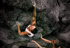 """Rock Climbing Photo: Jim Hausmann on the F.A. of """"The Captain (V5)..."""
