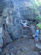 Rock Climbing Photo: Slicksides goes up the crack his left foot is on.