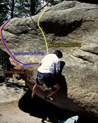 Rock Climbing Photo: Photo Beta for the east side of the Pac-man boulde...
