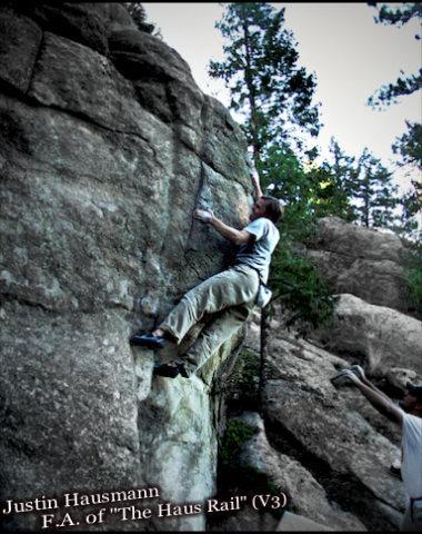 "Rock Climbing Photo: Justin Hausmann smoking the F.A. of the ""Haus..."
