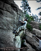 "Rock Climbing Photo: Justin Hausmann smoking the F.A. of the ""Haus..."