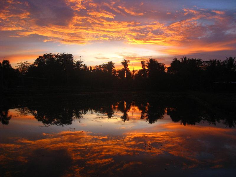 Sunset over rice padi where we camped.