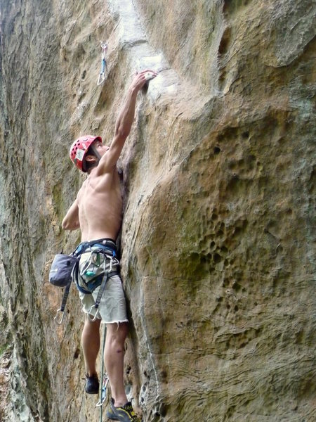 Rock Climbing Photo: Jeremy Steck...wide eyed, hoping to stick the rail...