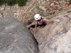 Rock Climbing Photo: Moving through the wide crack crux of the route. M...