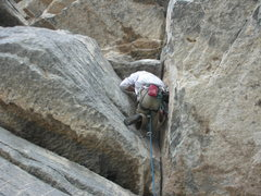 Rock Climbing Photo: Entering the finger locking jaws of the final roof...