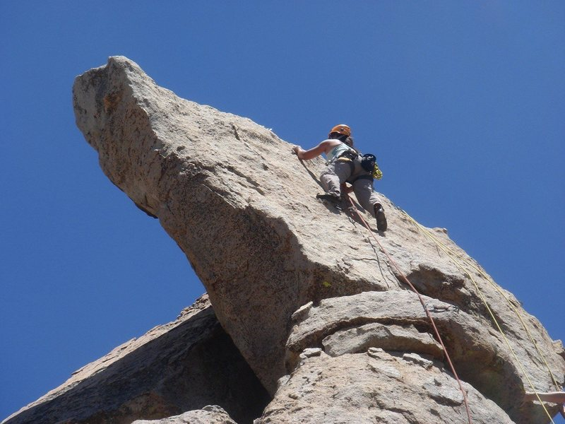 Rock Climbing Photo: Lourdez nearing the top of Guys and Dolls.
