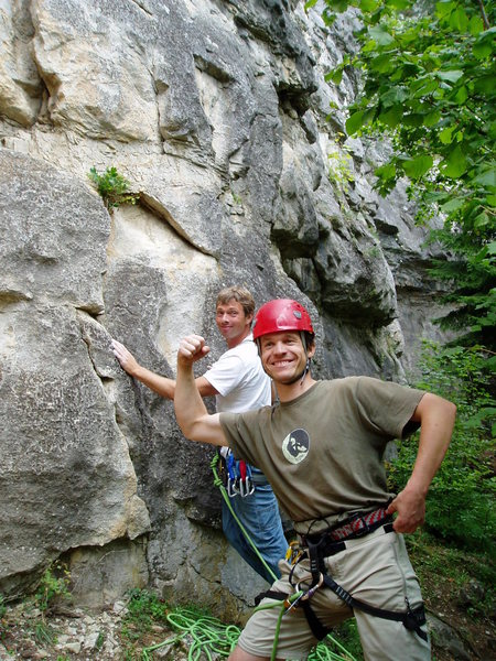Rock Climbing Photo: Vlado happily sandbags me... Slovak Paradise