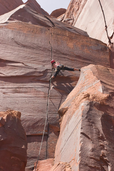 Rock Climbing Photo: stemming out on the pillar makes this section much...
