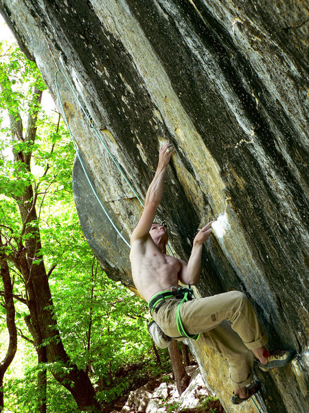 Rock Climbing Photo: Keegan keeping the body tension as he sinks into t...