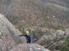 Rock Climbing Photo: Topping out on P2 of Southern Comfort in between M...