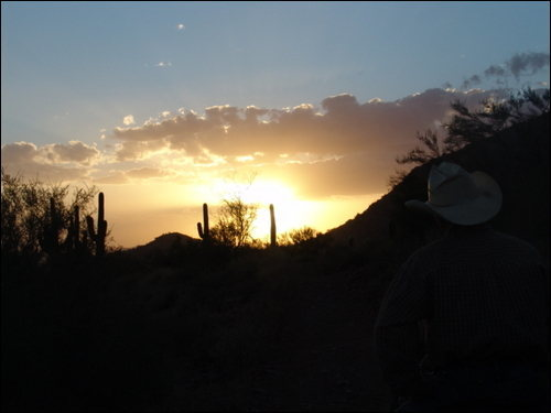 Cave Creek, Arizona sunset over cave creek trail rides (Spring job giving horseback riding lessons 2006)