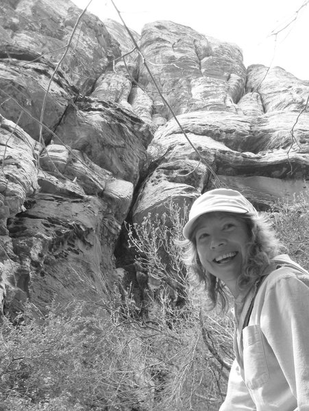 My best friend Nan-Cat visiting from Kauai 4/09. <br> <br> She's all smiles when we were reminiscing about the crazy scrambling we used to get ourselves into. : )