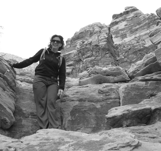 My good friend Holly-Wolly having fun scrambling in Pine Creek, Red Rock.<br> <br> Taken 4/09