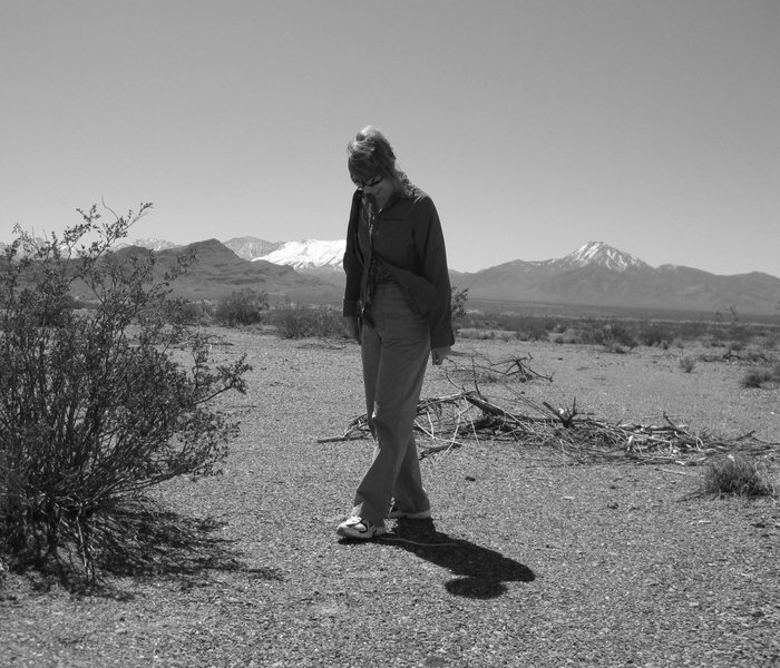Rock Climbing Photo: Nan-Cat combing the desert in some of our ol stomp...