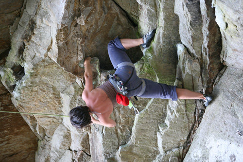 TR on Lactic Acid Bath (5.12d) in the Hole at the Kaymore climbing crag, New River Gorge on April 25, 2009