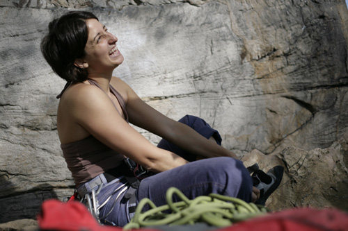 Laughing before getting on Rico Suave (5.10a), Kaymore, New River Gorge, April 25, 2009