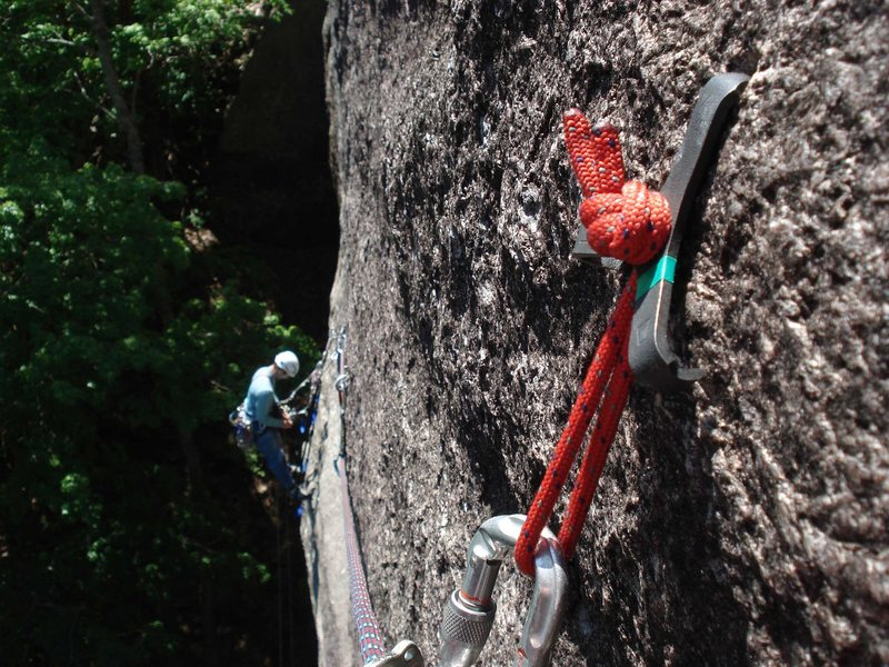 the hooks are great, do not fear... adam is at the pitch 1 belay here...