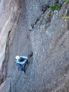 Rock Climbing Photo: Adam up high getting to the roof on pitch 4...