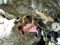 Rock Climbing Photo: Rachel powering through one of the many bouldery l...