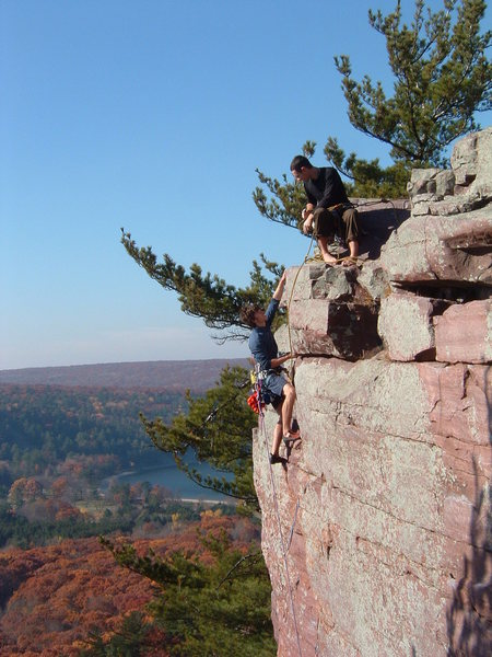 You can taste the camaraderie.  C. Treiber climbing Upper D with G. Forge on the belay.  One of the best days ever at Devil's Lake.