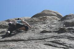 Rock Climbing Photo: near the top of Benevolent Bruin