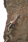 Rock Climbing Photo: Allix getting powerful on Goliath.