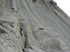 Rock Climbing Photo: The climb ends at the small roof on the arete up a...
