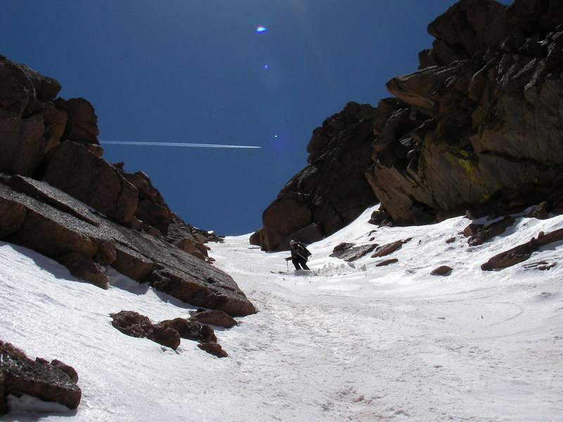 Charging down the Summit House Couloir on Pikes Peak