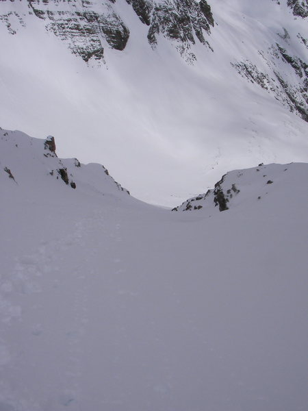 Looking down at my boot pack up the north couloir