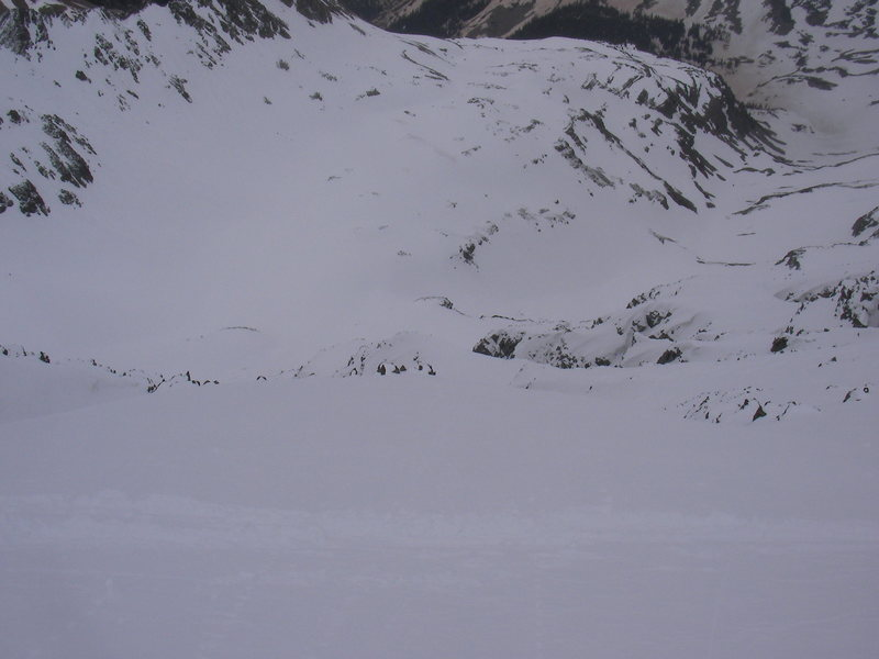 Looking down the east face of castle peak