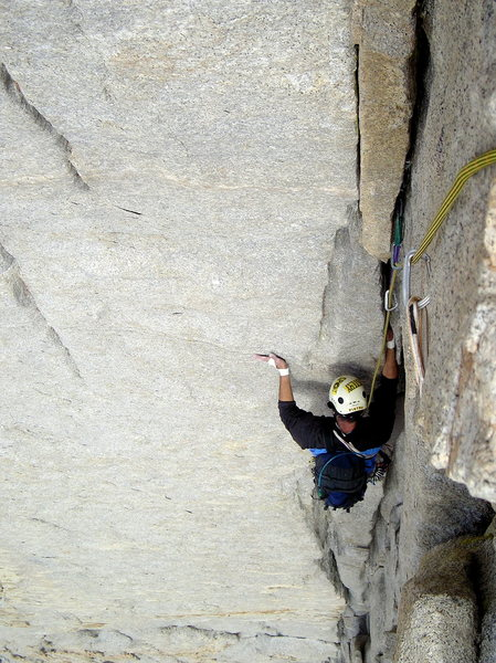 Rock Climbing Photo: Topping out on Mithral Dihedral