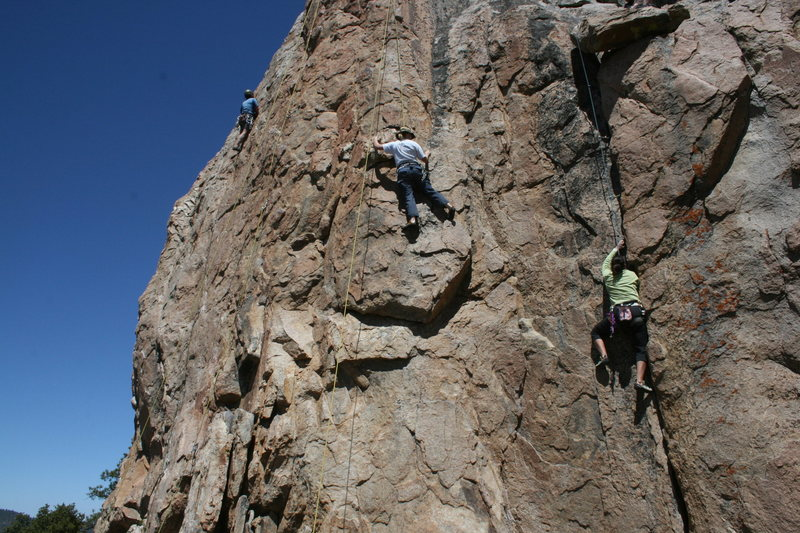 Agina Sedler on Western Farm Service. Unknown climbers to the left on Bye Crackie and Golden Poodle.