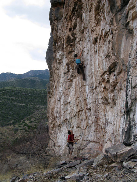 The Flying French Canadian (Steph Juneau) sending Morbius. Belay by Jared Gabor, pic by Pete Piek.