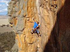 Rock Climbing Photo: Josh Laitila leading Scorpion corner
