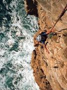 Rock Climbing Photo: Tristan, 7, climbing his first sea cliff