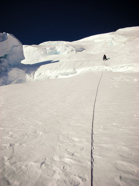 Rock Climbing Photo: Ascending the initial snow slopes towards the ridg...