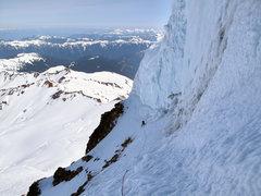 Rock Climbing Photo: Traverse under the serac wall.