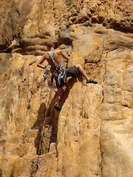 Rock Climbing Photo: Elliott on Golden Fleece, Central Gully left side