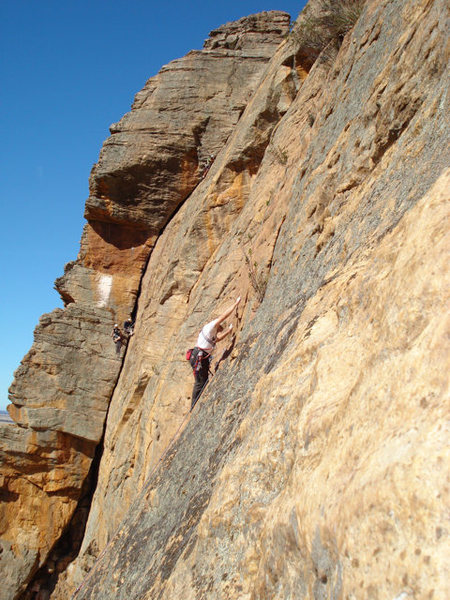 Watchtower Crack and unknown man leading Brolga, one of many great face climbs right of the Watchtower