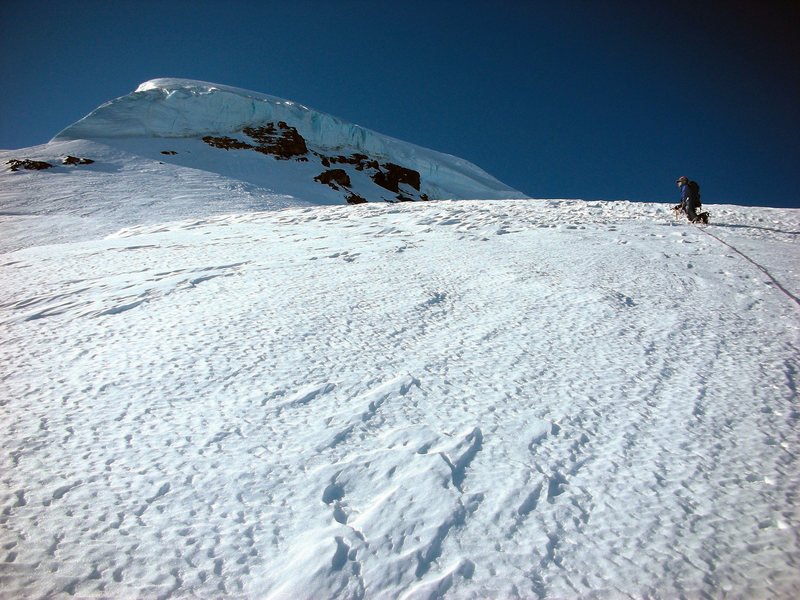 Climbing towards the serac wall on the lower North Ridge.