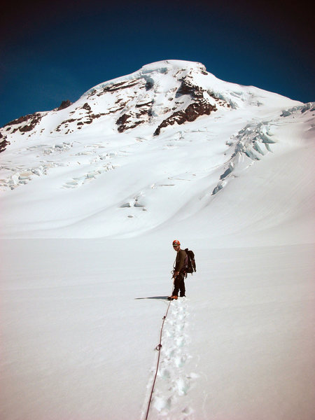 Mt. Baker. Scouting the approach to North Ridge across the Coleman Glacier.
