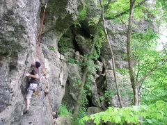 Rock Climbing Photo: Dustin working towards the overhang.  No idea wher...