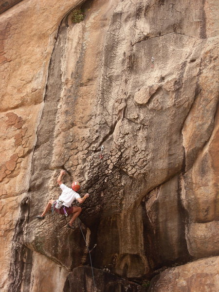 Rock Climbing Photo: Andre Fiedler sticks it out.
