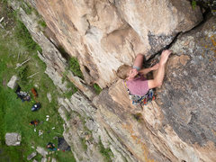 Rock Climbing Photo: Bill below the roof after placing the confidence i...