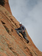 Nathan Furman starting up one of the last pitches of Sunshine Buttress, Kolob Canyon