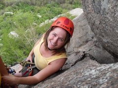 Rock Climbing Photo: Brenda on the narrow belay ledge at the top of pit...